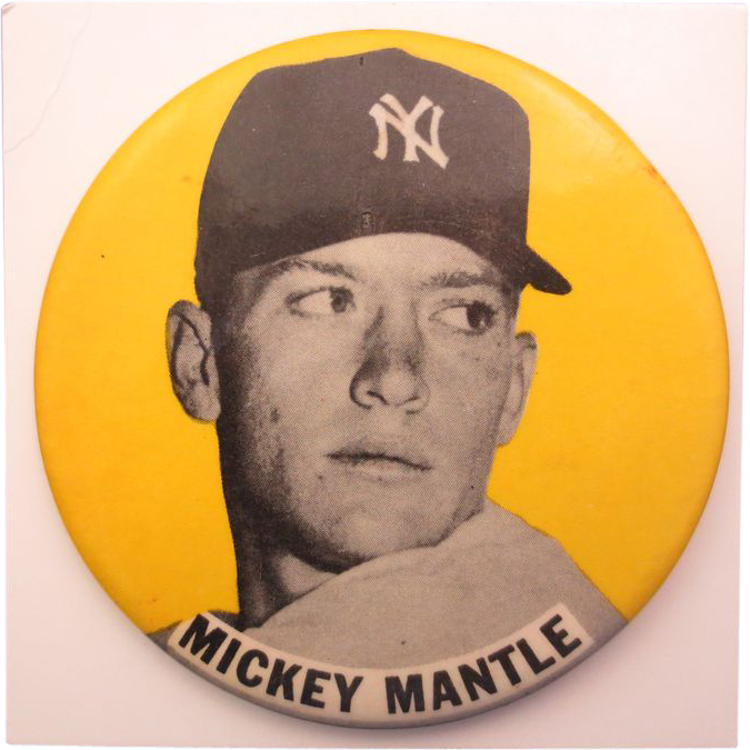 "1950's Mickey Mantle Stadium Pin 3 1/2"" RARE Yellow Background"
