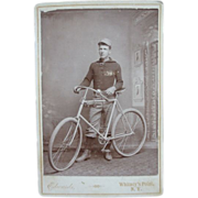 1800's Cabinet Photo Man w/ Bicycle Whitney's Point, New York