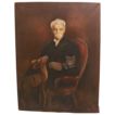 Antique Oil on Canvas of a Gentleman, Cat, and Deer Signed