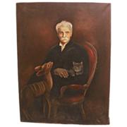 Original Vintage Oil on Canvas of Albert Schweitzer, his cat, and a deer Signed!