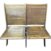 SALE Wooden Double Seat Theater Chair