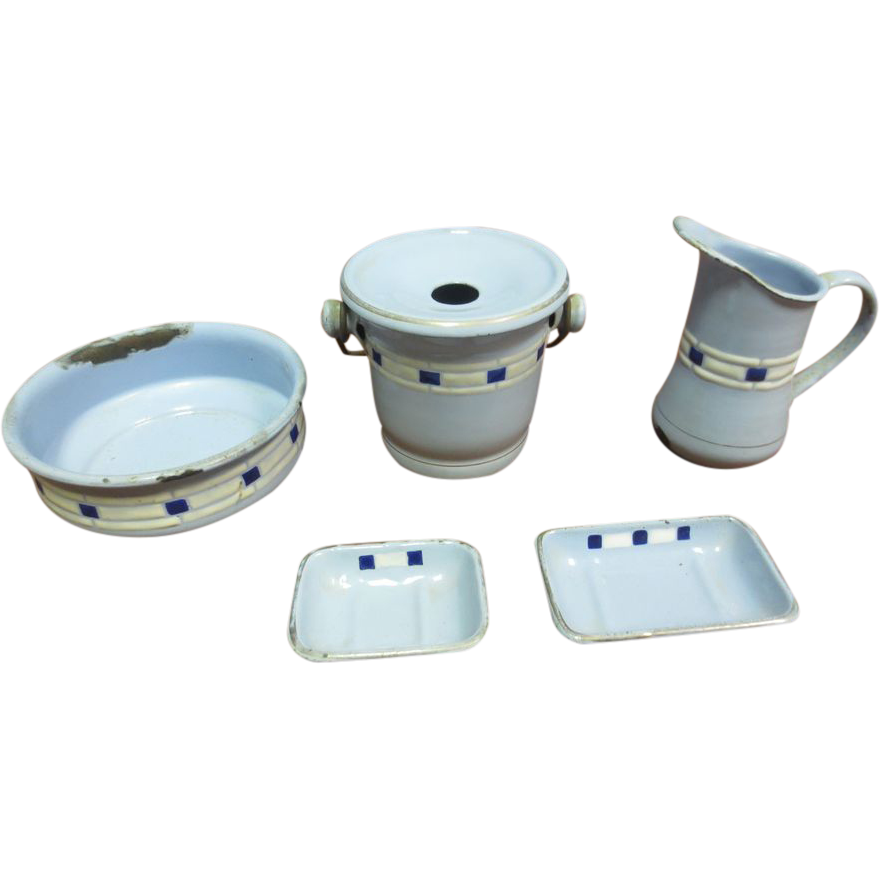 Child's Toy Blue Granite Ware Chamber Set