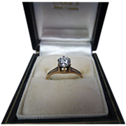 Beautiful Vintage European Cut Diamond Solitaire Ring Ca. 1929