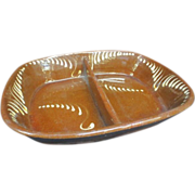 English Redware Divided Dish