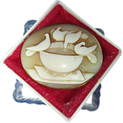 Whimsical Bird Cameo Brooch-14K Gold