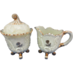 Custard Glass Creamer & Sugar Louis XV