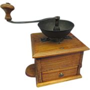 Antique Coffee Grinder w/ Dovetailed Box