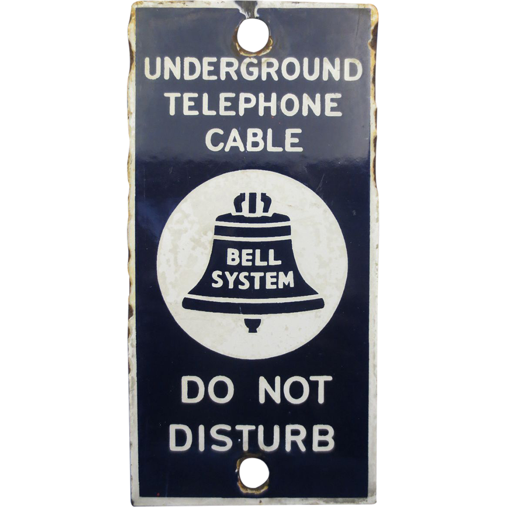 &quot;Bell System&quot; Underground Telephone cable Sign Porcelain