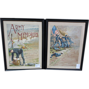 "REDUCED Pair of Signed ""Louis Harlow"" Prints ""Army Memories"""