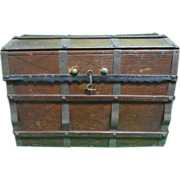 Antique Signed Miniature Toy Doll Trunk Chest