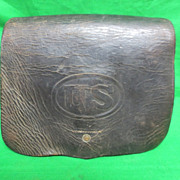 Antique Civil War Era Artillery Cartridge Leather Pouch Late 1800's