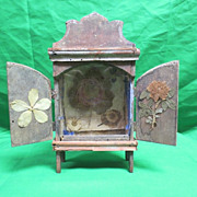 Antique Red Cupboard Early Folk Art