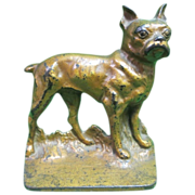 Antique Boston Terrier Dog Cast Iron Door Stop