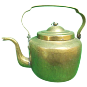 Antique Dovetailed Brass Teapot