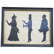 Antique Original Silhouettes of Charles Dicken's Characters Art