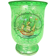 19th Century Leaded Glass Vessel w/Ship Design Vase