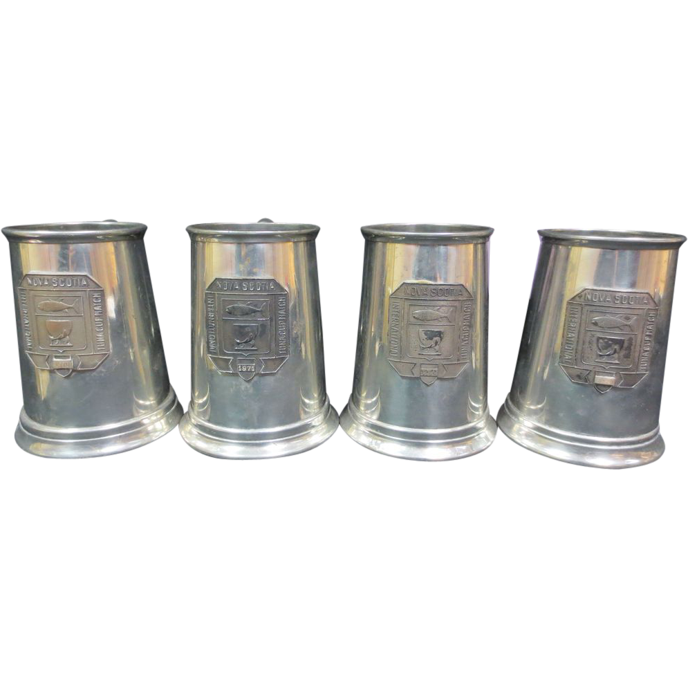 Group of 4 Trophy Mugs From A Tuna Fishing Tournament