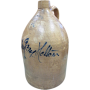 Antique Script Jug 4 Gallon Stoneware Crock Troy Pottery New York