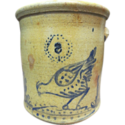 RARE-5 Gallon Large Bird Decorated Stoneware Crock
