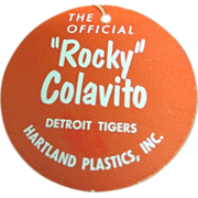 Original Early 1960's Hartland Plastics Baseball Statue Rocky Colavito Neck Tag