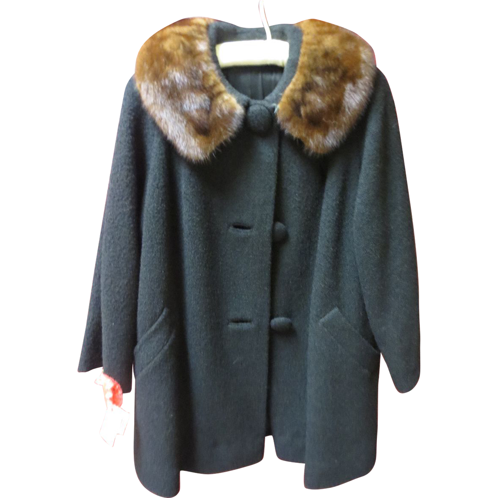 Black Worsted Wool Swing Coat w/Mink Collar