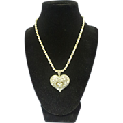 Braided Sterling Silver Chain w/Marcasite Heart