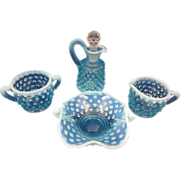Fenton Blue Hobnail Opalescent Collectors Set - Four Pieces
