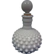 Fenton Milk Glass Hobnail Barber Perfume Bottle