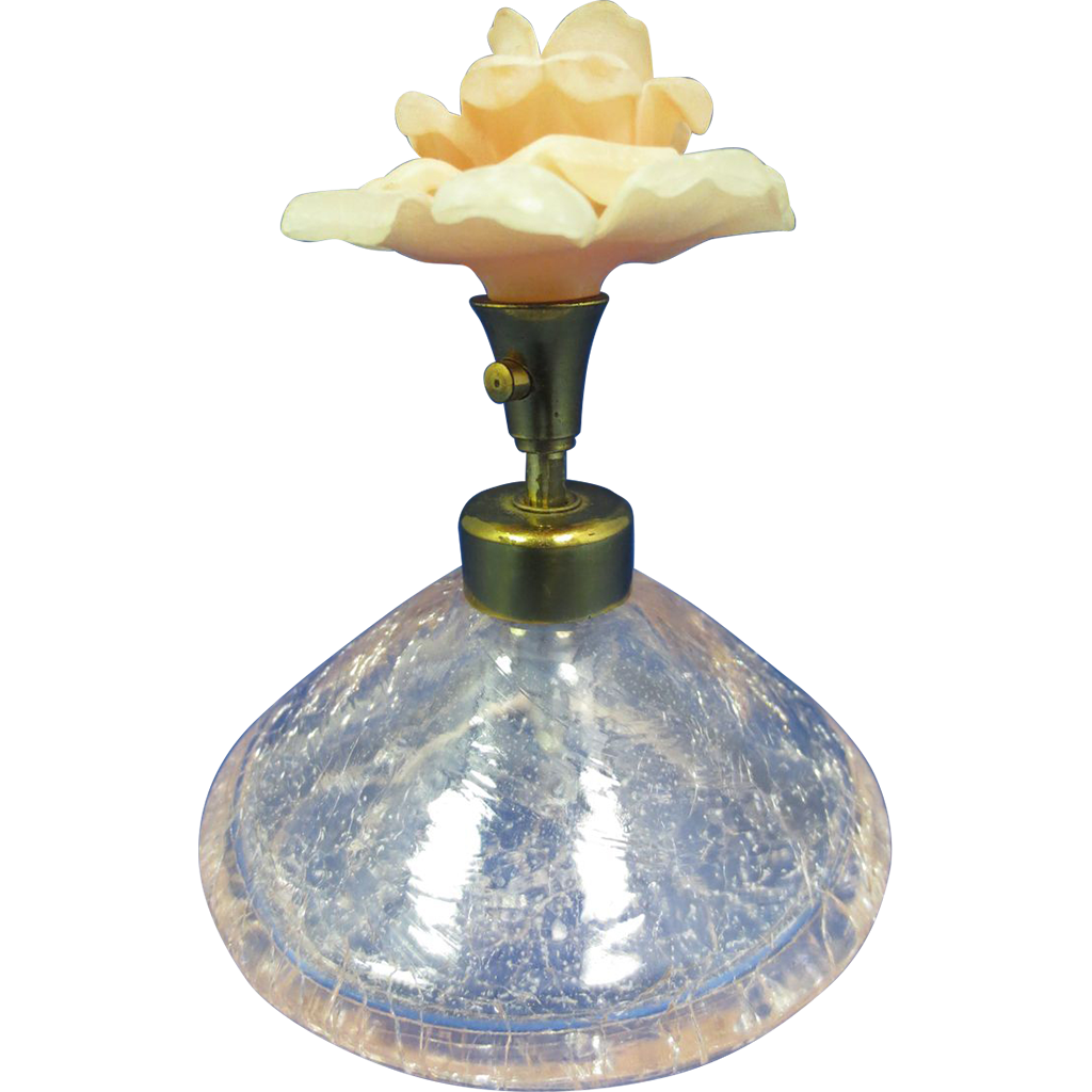 Irice Crackle Glass Perfume Bottle with Large Peach Flower