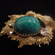 Large vintage gold toned with a turquoise cab and rhinestones large very unique brooch or conv