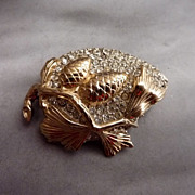 very strange unusual Antique Reja Rhinestone Pine Cone Brooch