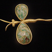 Large vintage Dragonfly gold toned and turquoise like speckled cab brooch pin free shipping