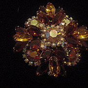 Large root beer, topaz, amber and aurora borealis rhinestone square DeLizza and Elster Juliana