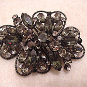 Large vintage black and smokey grey rhinestone  brooch pin signed Weiss free shipping
