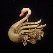 Signed vintage Coro enamel and rhinestone Swan brooch pin free shipping