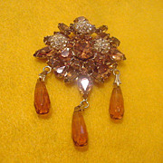 Signed vintage Weiss fall color rhinestone brooch pin free shipping