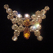 Small Julianna amber and clear rhinestone butterfly brooch pin Free shipping
