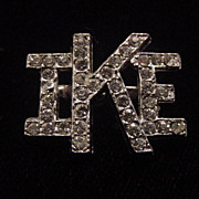 Vintage IKE presidential rhinestone brooch pin free shipping
