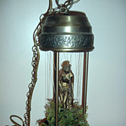 "SOLD 18"" vintage Diana Venus goddess swag hanging Rain Oil Lamp with foliage free shippin"