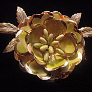 Signed Vintage unusual color Coro flower floral brooch