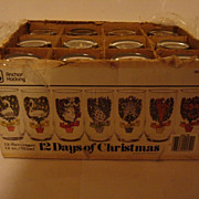 SOLD VINTAGE ANCHOR HOCKING 12 Days of Christmas Whole and Complete 12 oz Glass Set in their O