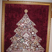 HUGE vintage artisan hand made costume jewelry filled framed Christmas tree picture unique unu