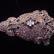 Large stunning vintage art deco clear rhinestone sweater or fur clip free shipping