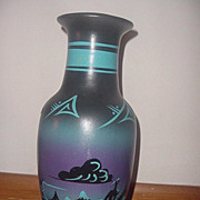 Vintage Signed Mike Navajo large stunning midnight blue and black pottery vase