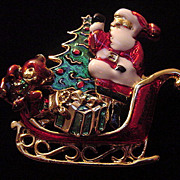 Large vintage well made enamel heavy Santa Christmas pin with movable parts