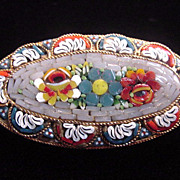 Large Vintage c clasp mosaic oval brooch pin marked Italy