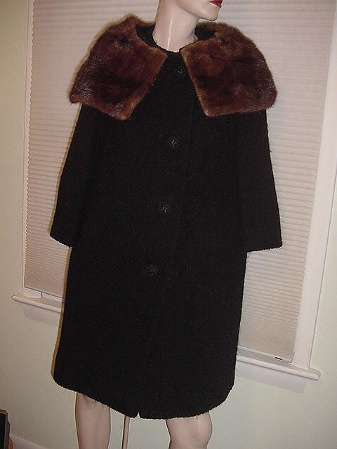 Vintage Union Made black wool pea coat with mink collar