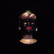Strange unusual unique black woman vintage brooch pin with turban