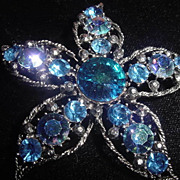 Large vintage blue rhinestones signed Weiss starfish or flower pin
