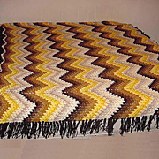 HUGE handmade by Grandma Zig Zag multi colored afghan throw blanket very heavy and well made